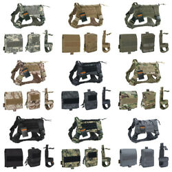 Tactical Dog Clothes Suit Vest Harness for Training with 2 Pouch and Kettle Bag