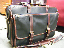KORCHMAR BLACK  BROWN LEATHER EXPANDABLE MESSENGER BAG BRIEFCASE WITH STRAP
