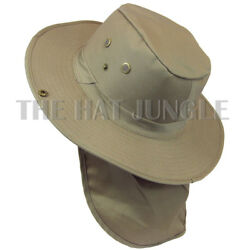 Boonie Hat with Neck Flap Fishing Hiking Outdoor Cap Snap Wide Brim Khaki Beige $12.99