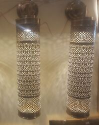 Set Of 2 Engraved Wall Torch Light Moroccan Brass Antique Torch Wall Light