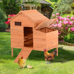 Chicken Coop Wooden House Backyard Outdoor Pet Cage Hutch w Nesting Box Ramp