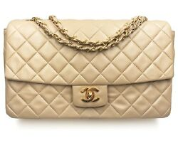 Chanel Vintage Rare Classic Flap Beige Wallet Shoulder Bag Complete Set