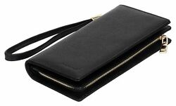 WomenMen Wallet Large Capacity Clutch Purse RFID Blocking Leather Card Holder