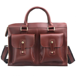 AYOUYA Genuine Leather Canvas Messenger Bag for Men and Women 14 Inches Shoulder