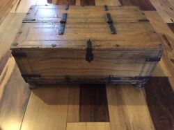 Original Hand Made French 18th Century Antique Wood Oak Box/forged Iron Hinges