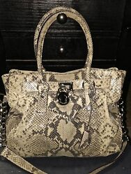 Designer MICHAEL KORS Snakeskin Leather Tan Tote Shoulder Bag Handbag Purse