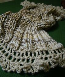 New Handmade Bulky Chunky Knit Blanket Throw Beige And White Lace Free Shipping