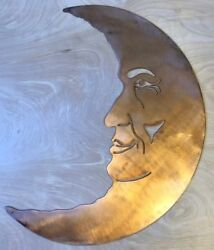 Man on the Moon Wall Metal Art with Rustic Copper Finish Hanging