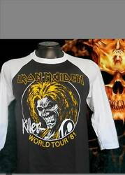 IRON MAIDEN TOUR PUNK ROCK BASEBALL TEE BLACK MEN#x27;S SIZES