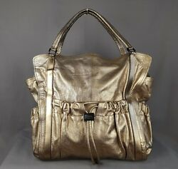 Burberry Curzon Leather Tote Hobo Bag Large Womens Metallic Gold