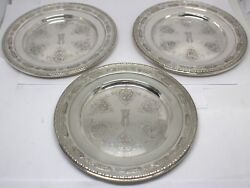 Towle Louis Xiv 5435 Sterling Silver Bread Plates 3 Monogrammed 89057-12dbw