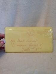 YSL Y-Mail Yellow Patent Leather Clutch Evening Bag Handbag Gold Accent Color