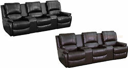 Leather-soft Theater Seat Recliner 3-seat Reclining Pillow Back Black Or Brown