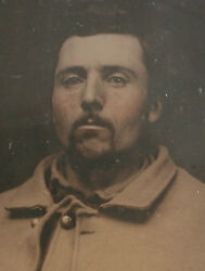Civil War Ambrotype. Soldier In Uniform. Tinted 6th Plate Full Case.