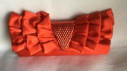 Jessica McClintock Red Satin Clutch Evening Bag with Ruffles and Sequins