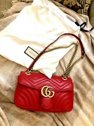 Gucci GG Marmont Red Leather Small Flap Bag