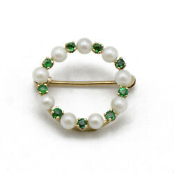 Vintage 14k Yellow Gold And Green Emerald And Pearl Brooch / Hat Pin