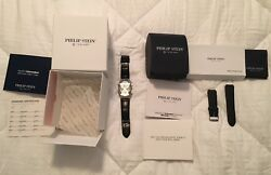 Philip Stein Teslar Watch Extra Band Original Papers And Box Rare New Battery