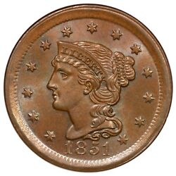 1851 N-41 R-4 Ngc Ms 66 Bn Cac Braided Hair Large Cent Coin 1c