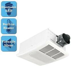Delta Exhaust Bathroom Fan Heater Dimmable LED Light Ceiling 80 CFM White