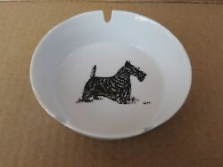 Vintage Porcelain Scotty Dog-Terrier- Ashtray- signed