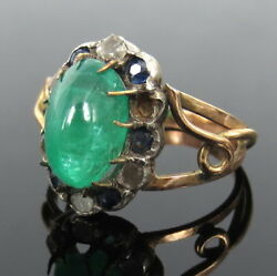 Antique 3.0ct Colombian Emerald Diamond Sapphire Silver And Gold Ring Size 8.75