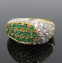 Vintage 2.0ct Diamond And 1.10ct Emerald 18k Yellow Gold Dome Ring Size 7.25