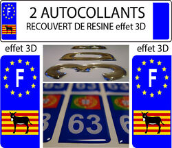 2 Stickers Car Registration Plate Doming 3d Resin Donkey Catalan Burro F