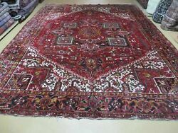 9' X 11' Antique Hand Made Indian Allover Oriental Wool Rug Nice Vegetable Dyes
