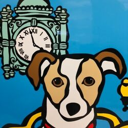 Marc Tetro Chicago Jack Russell Print Featuring Marshall Fields Clock Tower
