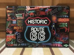 Historic Route 66 Neon Diner Gas Motel Road Trip Car Wall Decor Vintage Style
