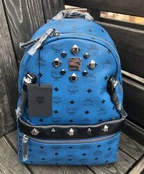 Authentic MCM Munich Blue Backpack  Detachable Crossbody Extra Strap 980$ Large