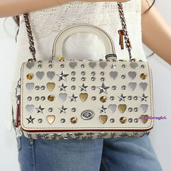 NWT Coach 1941 Beatnik Rivets Double Dinky Leather Crossbody Bag 86813 Cream NEW