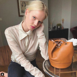 MASSIMO DUTTI (ZARA GROUP) TAN LEATHER BUCKET BAG WITH GOLD DETAIL 6910555