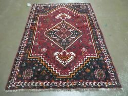 4and039 X 6and039 Antique Hand Made Turkish Wool Veg Dyes Rug Organic Red Nice M10
