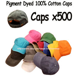 Wholesale Lot 500 Cotton Baseball Caps Hats Pigment Dyed Assorted Colors Buckle