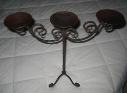 Vintage Gothic Table Standing Wrought Iron Tri-pillar Candelabra 18 Tall