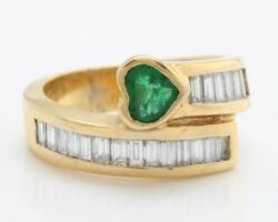 Women Natural Emerald And Diamond 1.00 Ctw In 14k Solid Yellow Gold Ring