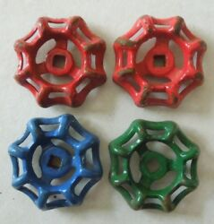 4 Different Colored Steam Punk Cast Iron Water Valve Handles 2 1/8