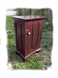 Primitive - Rustic Red Paint Decorated Floor-jelly Cabinet By R. Sykes