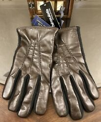 Gent's Leather And Wool Texting Gloves Size Large Brown New W Tags