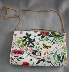 Authentic Vintage Rare Gucci Flora & Fauna ClutchStrapped Handbag NEVER USED