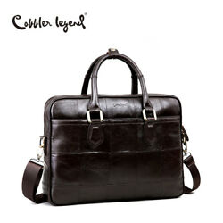 Cobbler Legend Brand Designer Men's Real Leather Briefcase Bag For Male