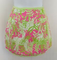 Lilly Pulitzer Girls Size 6 Wrap Skirt Reversible Neon Pink Green Jungle Floral