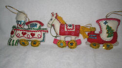 Handsewn handmade vtg felt sequined beaded Christmas ornaments Circus Train yarn