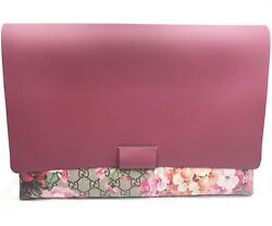 Gucci Burgundy Floral Coated Leather Large Clutch