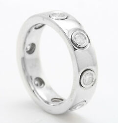 Women Natural Diamonds .81 Ctw In 18k Solid White Gold Eternity Ring