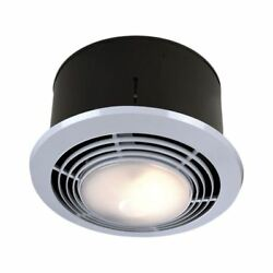 Round Bathroom Exhaust Fan Light Heater 70 CFM Quite Bath Ceiling Mount