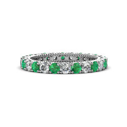 Emerald And Diamond Eternity Band 1.45-1.63 Carat Tw In 14k White Gold Jp151040