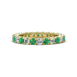 Emerald And Diamond Eternity Band 1.45-1.63 Carat Tw In 14k Yellow Gold Jp151041